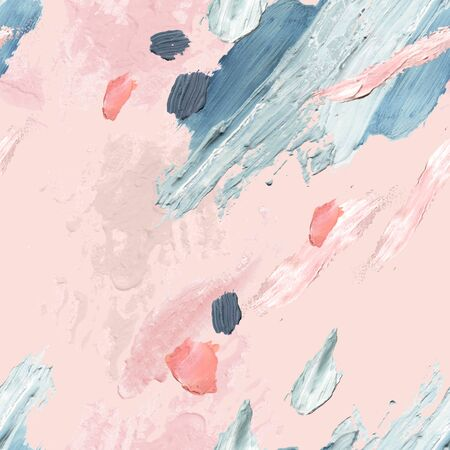 Abstract pastel colored brushstrokes background. Acrylic, oil and watercolor paint rough smears, blots, texture seamless pattern. Hand painted artistic illustration for modern surface design Banco de Imagens