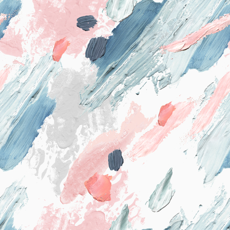 Abstract pastel colored brushstrokes background. Acrylic, oil and watercolor paint rough smears, blots, texture seamless pattern. Hand painted artistic illustration for modern surface design Standard-Bild