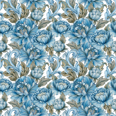 Blue peonies seamless pattern in retro colors. Digital watercolor art background. Peony blooming flowers with antique baroque elements