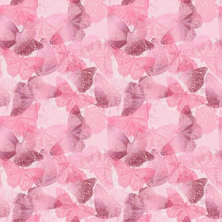 Abstract monochrome watercolor butterflies background. Trendy seamless pattern of flying butterfly in silhouette with glossy gradient effect. Artistic illustration in pastel gold rose pink color