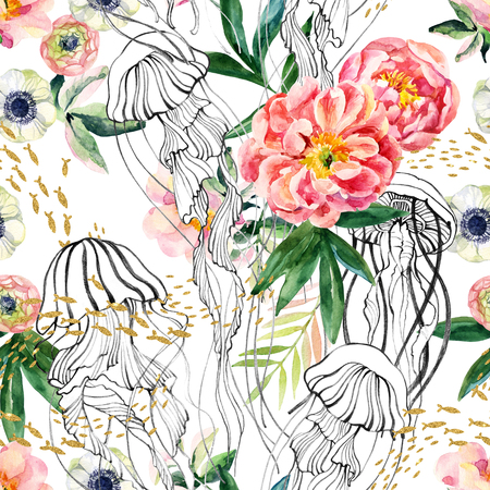 Watercolor floral and graphic marine elements seamless pattern. Artistic illustration with jellyfishes, a school of fish, peony, anemones, ranunculus flowers and leaves. Natural background