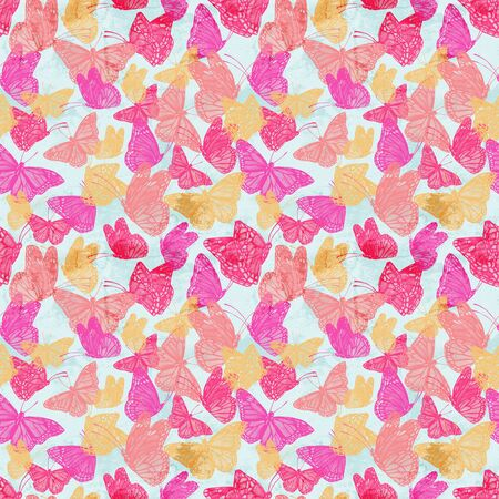 Abstract watercolor butterflies background. Trendy colorful seamless pattern with flying butterfly on grunge painted texture. Artistic illustration Banco de Imagens