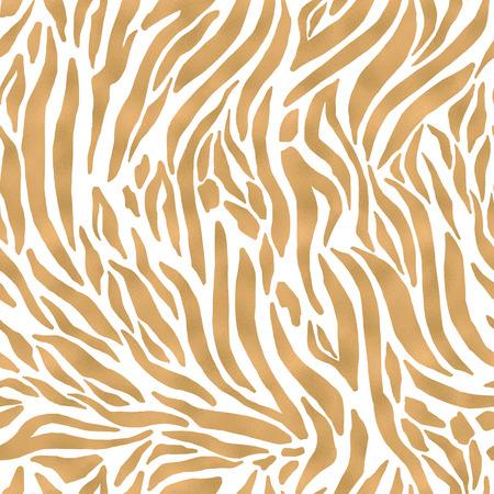 Animal skin seamless pattern. Tiger`s fur imitation. Wavy stripes filled with gold foil texture. Digital art illustration 写真素材