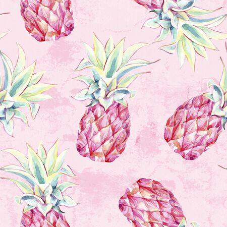 Watercolor pink pineapples on grunge background. Artistic tropical fruit seamless pattern in minimal style. Hand painted summer illustration of fruits with water color, grunge, paper textures