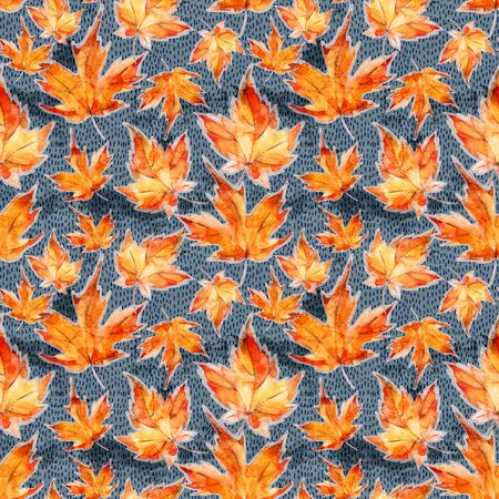 Floral seamless pattern of autumn maple leaves on grey grunge background. Watercolor foliage illustration in trendy modern style. Art design for fall background, fabric, textile