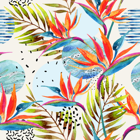 Abstract summer geometric background. Geometric shapes with watercolor flowers, palm leaves, marble, grunge texture. Water color background in retro vintage 80s - 90s. Hand painted beach illustration
