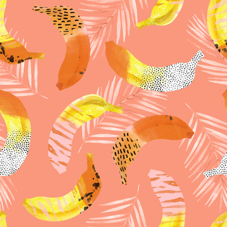 Fun bananas and palm leaves print in 80s 90s pop art style. Trendy seamless pattern of tropical fruits with watercolor, grunge, geo textures, rough brushstokes, doodles. Hand panted illustration