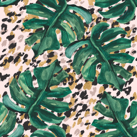 Summer abstract seamless pattern: sparkling tropical leaves, leopard fur coat inspired animal skin print. Digital art background for fabric, surface, wrapping design