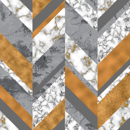 Chevron seamless pattern with digital marble paper, silver gold foil, pastel grunge texture. Geometrical abstract monochrome grunge texture. Art background for surface design with glitter effect Banco de Imagens - 122714965