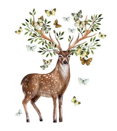 Hand painted watercolor deer antlers with leafs, branches, butterfly isolated on white background. Animal art illustration for invitation, wedding, greeting cards. Wildlife concept for hipster design 免版税图像
