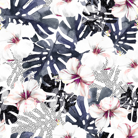 Abstract exotic flowers and leaves seamless pattern. Hand drawn tropical summer background: watercolor hibiscus flower, monstera leaf, silhouette, marble textures, dots. Trendy art illustration