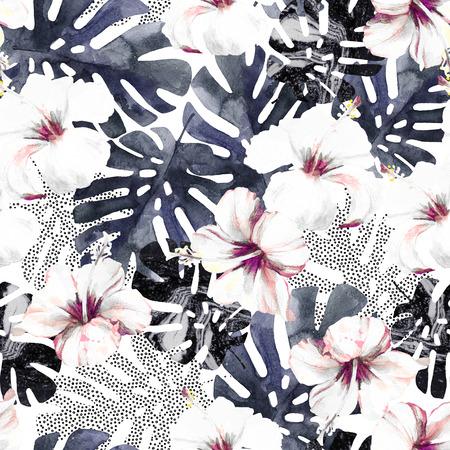 Modèle sans couture de fleurs et de feuilles exotiques abstraites. Fond d'été tropical dessiné à la main : fleur d'hibiscus aquarelle, feuille de monstera, silhouette, textures de marbre, points. Illustration d'art à la mode