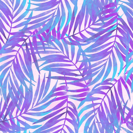 Watercolor tropical leaves seamless pattern in trendy rave colors. Watercolour gradient palm leaves painting on grunge textured background. Hand painted illustration for summer design