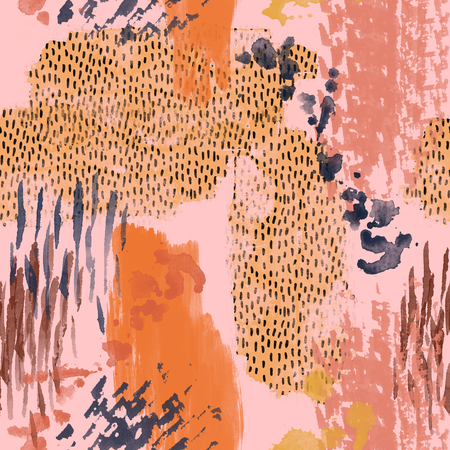 Abstract watercolor seamless pattern. Water color rough brush strokes, textures, scribbles background. Hand painted illustration in retro colors for fabric, wrapping design, animal print inspired