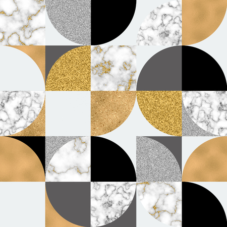 Modern seamless geometric pattern: semicircles, circles, squares, grunge, digital marble paper, glossy gold foil, pastel grunge texture. Abstract background. for trendy metallic effect surface design Stockfoto