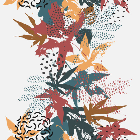 Abstract fall seamless pattern in retro colors. Vector drawing of falling leaves, ink doodle, grunge textures. Floral background for fall design. Hand drawn illustration