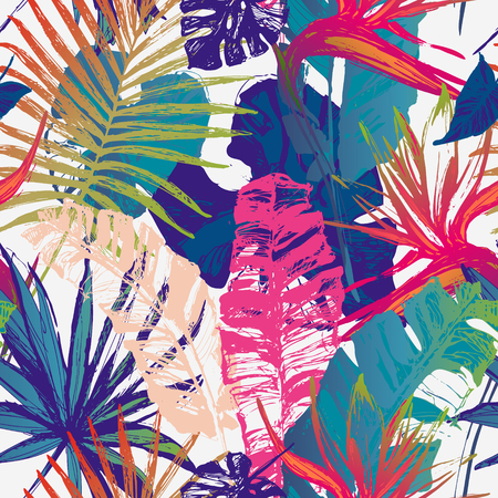 Nature seamless pattern. Hand drawn abstract tropical summer background : palm tree, fan palm, monstera, banana leaves, exotic flowers in grunge, gradient silhouette, line art. Vector art illustration