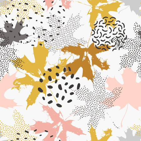 Abstract maple leaves seamless pattern in gold and grey colors. Autumn leaves filled with dots, dashes, shabby grunge texture on minimal doodle background. Vector illustration 矢量图像
