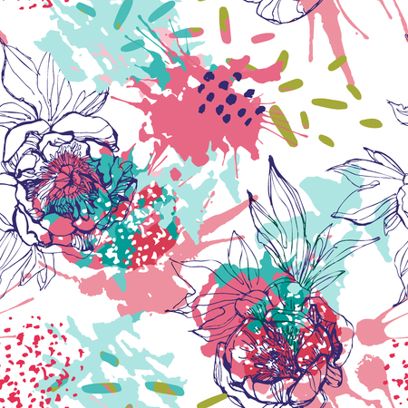 Line sketch peonies seamless pattern. Peony flowers on background with colorful splash, splatter, dots, dashes. Hand drawn vector floral illustration Vetores