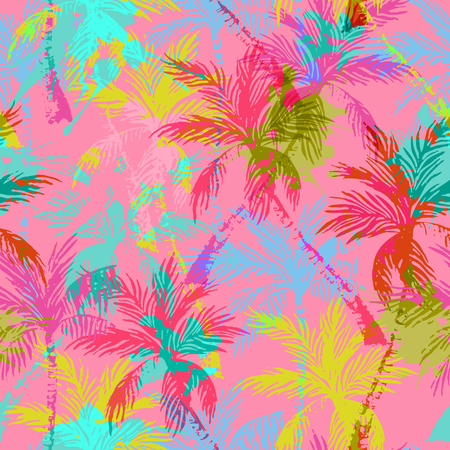 Abstract colorful palm trees seamless pattern. Vector summer background with rough grunge textured brush strokes. Hand drawn bright art illustration Ilustração