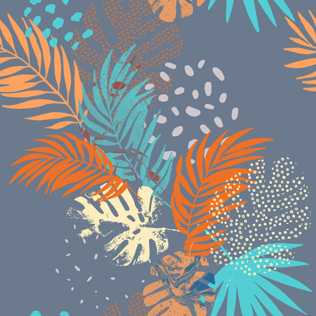 Art illustration: rough grunge tropical leaves filled with marble texture, doodle elements background. Abstract palm, monstera leaf, vector seamless pattern. Hand drawn design