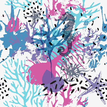 Creative abstract marine seamless pattern. Vector sea life background with shabby corals, distorted sea star, grunge texture, splatter, rough brush strokes. Hand drawn art illustration