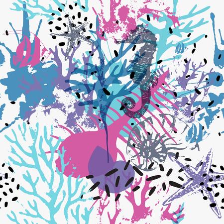 Patrón transparente marino abstracto creativo. Vector fondo de vida marina con corales en mal estado, estrella de mar distorsionada, textura grunge, salpicaduras, pinceladas ásperas. Ilustración de arte dibujado a mano