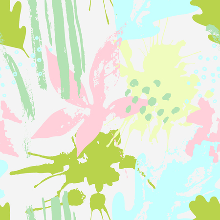 Abstract drawing in bright fresh colors. Modern vector illustration with leaves, splash, grunge textures, rough brush strokes, doodles. Creative seamless pattern with hand drawn shapes
