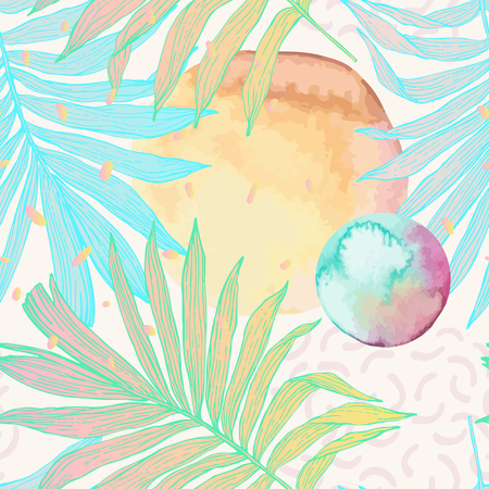 Hand drawn abstract tropical summer background: palm leaves, squiggles, dots in circle, watercolor texture. Vector illustration. Palm leaf in line art style with water color stains seamless pattern.