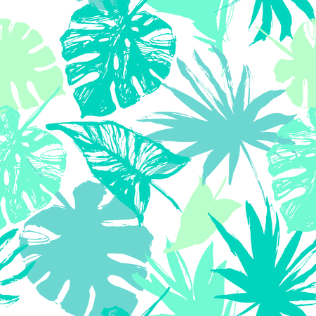 Nature seamless pattern. Hand drawn abstract tropical summer background: palm, monstera leaves in silhouette, line art, grunge, scribble textures. Vector tropic illustration in natural green colors Ilustração