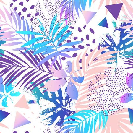 Cool modern illustration with tropical leaves, grunge textures, doodles, geometric, minimal elements. Creative gradient seamless pattern. Abstract vector art background Vektorgrafik