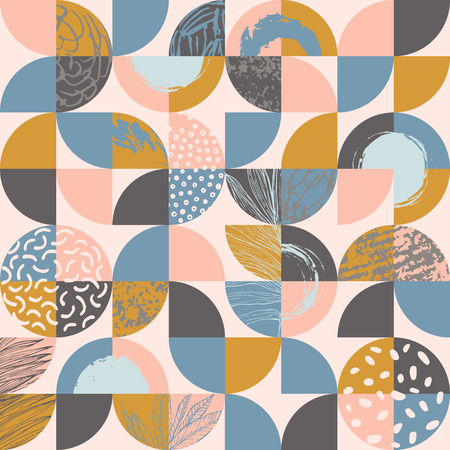 Modern seamless geometric pattern : semicircles and circles filled with line art of tropical leaves, grunge textures, doodles, geometric elements. Abstract background in retro scandinavian style