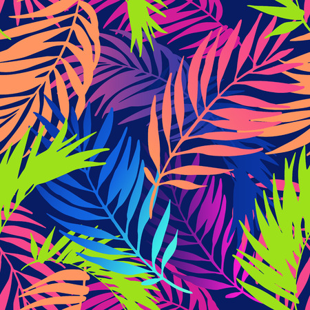Abstract colorful gradient summer seamless pattern. Floral and geometric background with palm leaves, doodle, gradient texture. Hand drawn exotic illustration