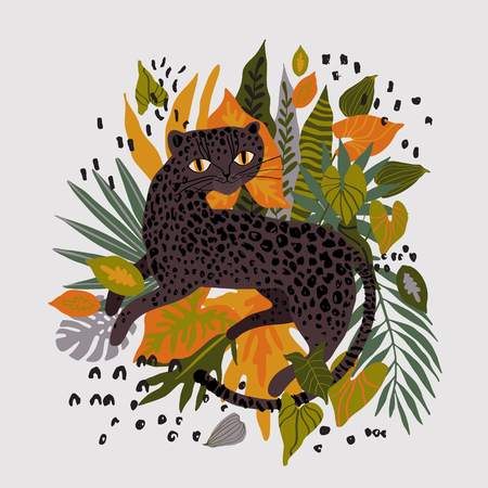 Vector leopard in tropical leaves isolated on white background. Black panther with floral and memphis elements. Trendy style. Иллюстрация