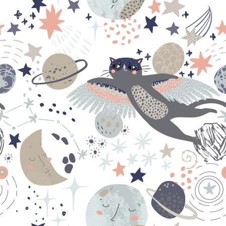 Cartoon cosmic background: flying cat in superhero mask, cute planets, moon, shooting stars, galaxy, milky way. Cosmos art illustration, grunge, doodle textures. Kids design for nursery Vektorové ilustrace