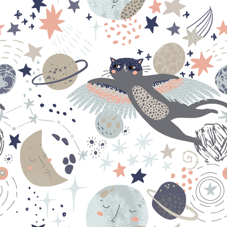Kosmischer Hintergrund der Karikatur: fliegende Katze in Superheldenmaske, süße Planeten, Mond, Sternschnuppen, Galaxie, Milchstraße. Kosmoskunstillustration, Schmutz, Gekritzelbeschaffenheiten. Kinderdesign fürs Kinderzimmer Vektorgrafik