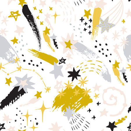 Colorful starry sky background: shooting stars, constellations, galaxy, milky way in scandinavian style. Cosmos art illustration, rough grunge brush strokes, doodle textures. Kids design for nursery