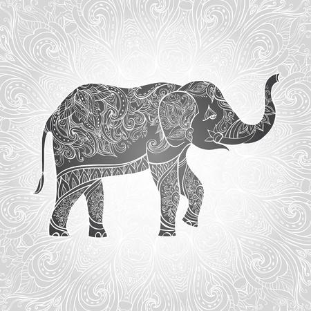 Indian elephant. Ornate elephant. Hand drawn vector illustration