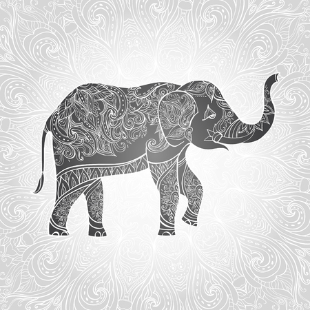 Indian elephant. Ornate elephant. Hand drawn vector illustration