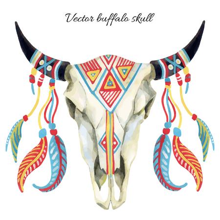 watercolor buffalo skull, hand painted vector illustration
