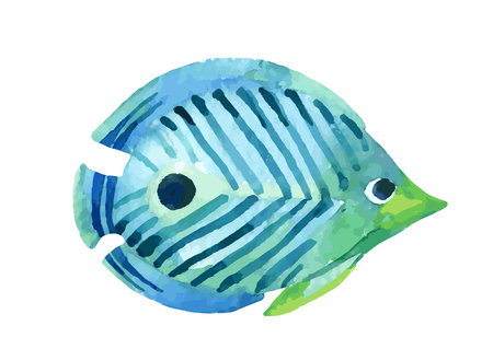 Butterfly fish. Watercolor vector illustration
