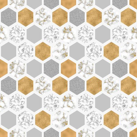 Hexagon seamless pattern with digital marble paper, shiny gold foil, silver glitter texture. Geometrical abstract grunge texture. Art background for luxurious surface design. Glossy metallic effect