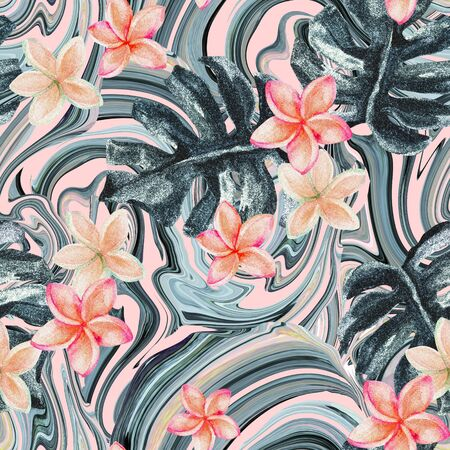 Summer abstract seamless pattern: sparkling tropical leaves and plumeria flowers, rose gold marbling texture. Digital art background for fabric, surface, wrapping design