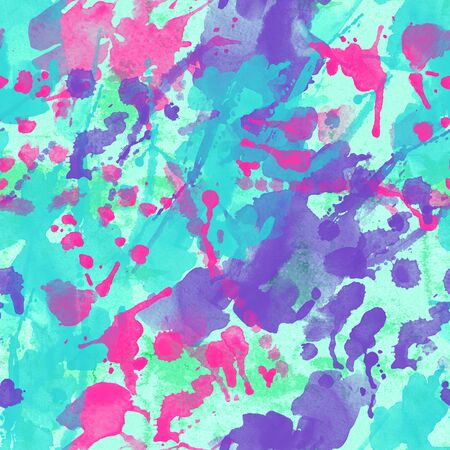 Abstract watercolor splatter seamless pattern. Colorful brush strokes, blots, spray backgrond in turquoise, pink, purple colors. Hand painted water color illustration with grunge texture