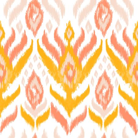 Ikat textile seamless pattern. Watercolor ethnic motifs: stripes, rhombus, flower ornament. Ink textured background. Hand painted illustration for bohemian fabric fashion design.