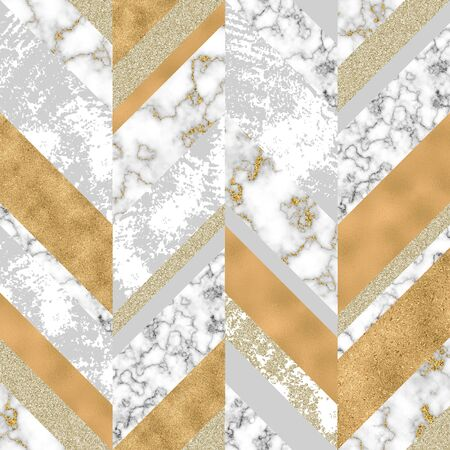 Chevron seamless pattern with digital marble paper, glossy gold foil, pastel grunge texture. Geometrical abstract grunge texture. Art background for surface design with shiny glitter effect Banco de Imagens