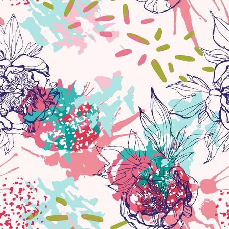 Line sketch peonies seamless pattern