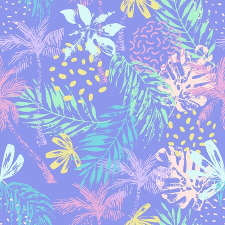 Nature seamless pattern. Hand drawn abstract tropical summer background: palm trees, monstera, fan palm leaves, squiggles, dots, doodles memphis elements. Natural art illustration