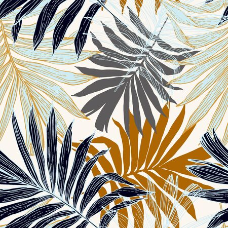 Nature seamless pattern. Hand drawn abstract tropical summer background : palm tree leaves in silhouette, line art. Natural art illustration in golden retro colors
