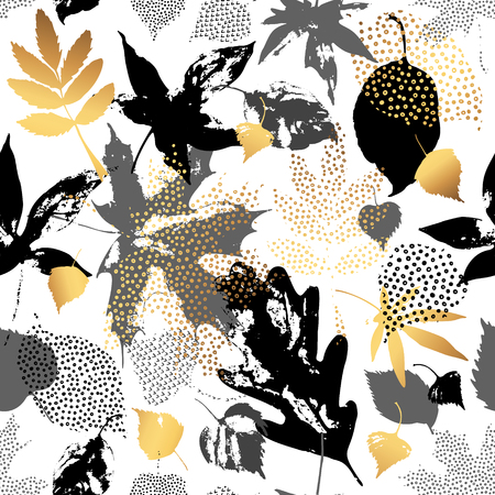 Autumn leaves seamless pattern. Hand drawn leaf silhouettes with doodle, grunge, scribble textures. Natural elements in golden, monochrome colors, background for fall design. Falling leaves illustration